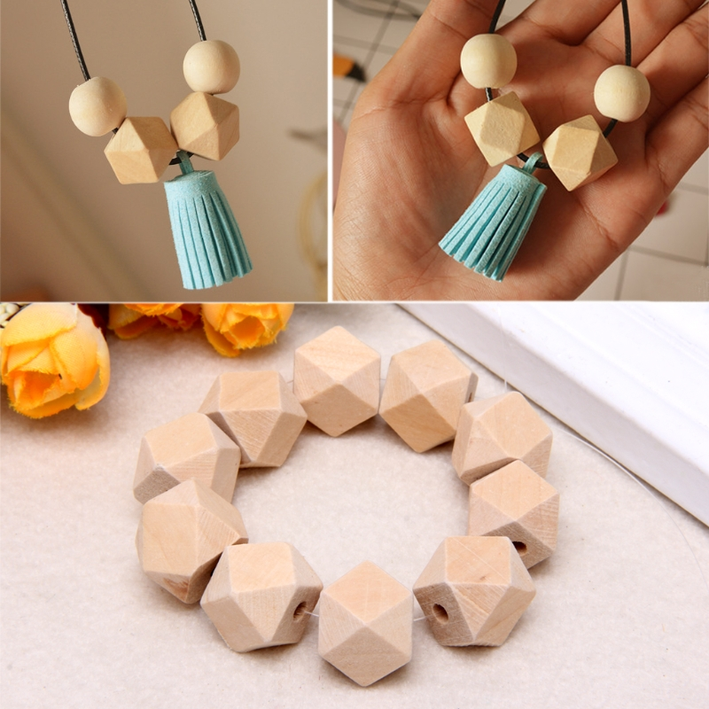 10pcs Wooden Natural Wood Beads For Baby Teething Teether 10/16/20mm