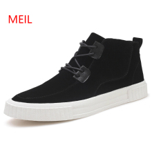 цены Men Casual Leather Shoes Men Spring Autumn High Top Sneakers New Italy Designer Leather Ankle Shoes Lace-up Man Black Punk Shoes