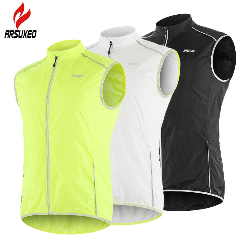ARSUXEO Reflective Men Cycling Vest Windstopper Windproof Bike Bicycle Running Vest With Back Zipper Pocket Reflective Clothing