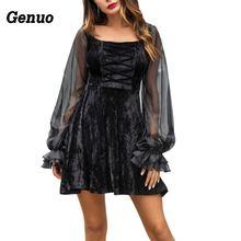 Genuo 2018 Luxury Bandage Velvet Dress Women Sexy Sheer Mesh Lantern Sleeve Autumn Ladies Club Party Dresses Vestidos