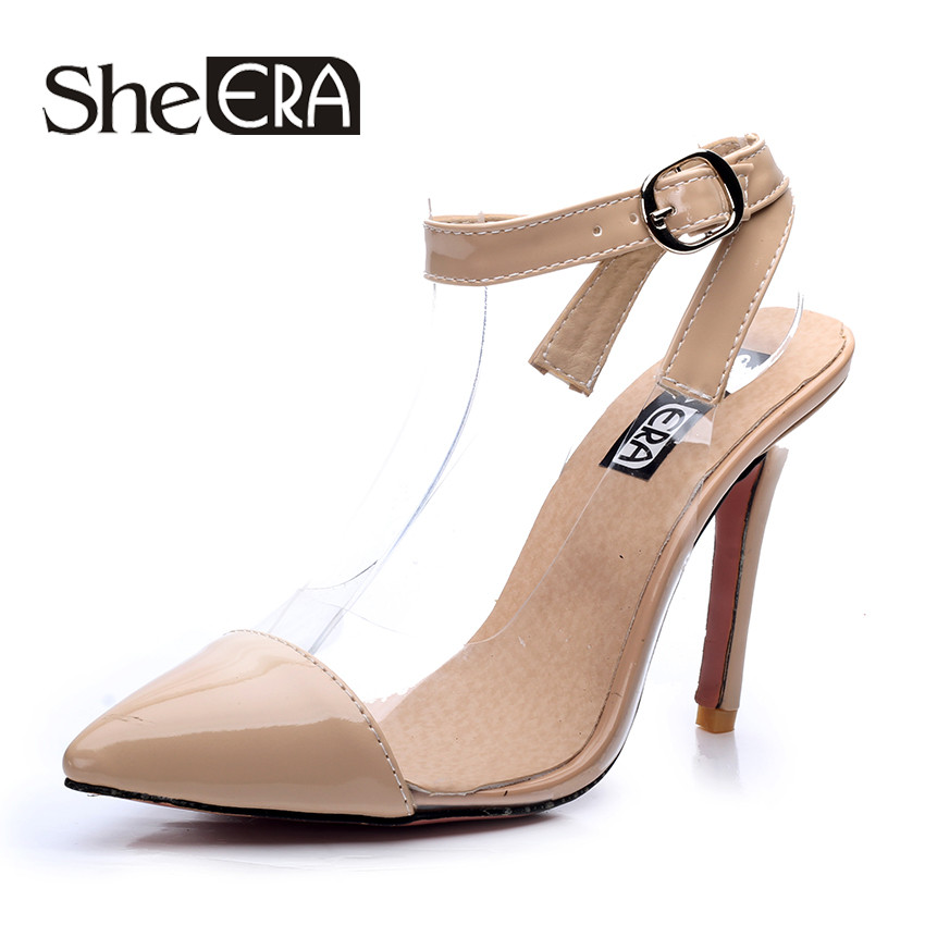 She Era Summer Women Sandals Peep-toe Solid PU Leather High Heels Shoes Woman Square Heel Pumps Black/Brown/White women high heel shoes women slingbacks sandals genuine leather solid color black white summer fashion casual shoes round toe
