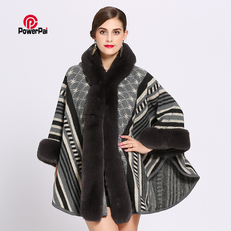 Fashion Stripe Jacquard Imitation Rex Rabbit Fur Coat Cloak Hooded Women Thick Cashmere Cape Shawl Fur