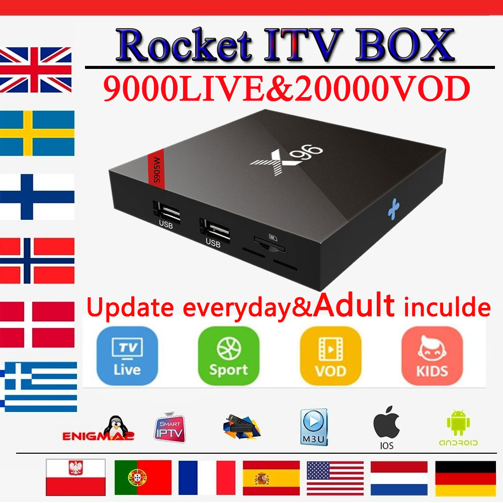 x96 android tv box 16G rom for smart tv 9000 FHD live Sweden French Canada USA