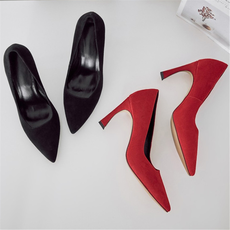Size 34-43 Genuine Leather Sexy Women Pumps Fashion Stiletto Thin Heel Women's Pointed Toe High Heels Woman Party Wedding Shoes цены онлайн