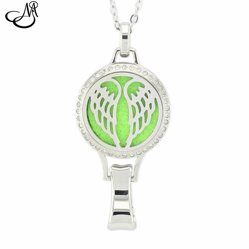 316l Stainless Steel Magnetic Aromatherapy Locket 30mm Wings Essentil Oil Diffuser Lanyard Locket Necklace Perfume Locket