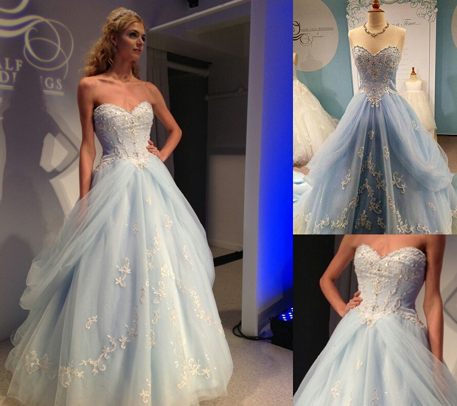 Cecelle 2016 Blue Ball Gown Colorful Wedding Dresses Long Beaded Appliques Sweetheart Non