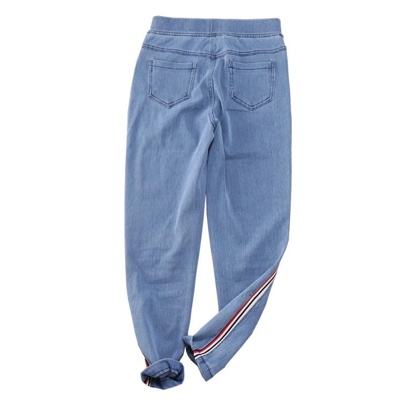 Blue Oxford Nueva Planas De Samgpilee Moda Cintura Lápiz Longitud Rayas Light Las 2019 Tobillo Casuales Primavera Elástico Pantalones Llegada Mujeres AqwSq8H
