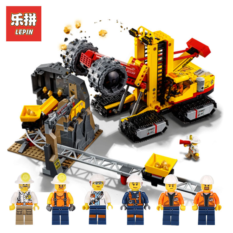 Lepin 02102 989Pcs Genuine City Series LegoINGlys 60188 Mining Experts Website Set Building Blocks Bricks Funny Toys Model