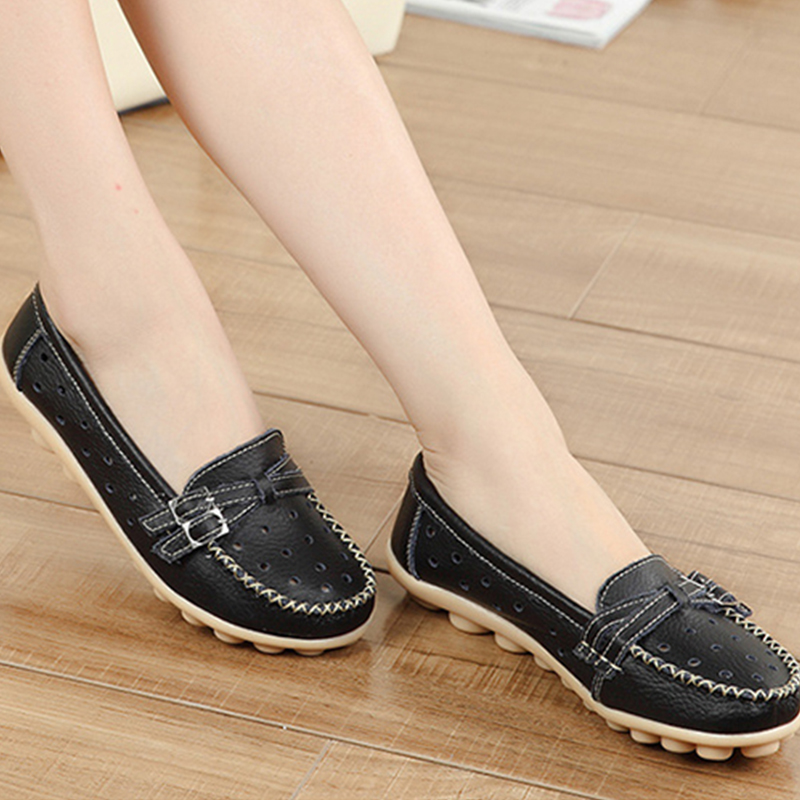 2017 Woman PU Leather Casual Women Shoes Flats Buckle Breathable Loafers Slip On Comfortable Women's Flat Shoes Moccasins DT917 the immortals dark flame