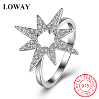 LOWAY New Cute Finger Rings Gold Plated With 925 Sterling Silver AAA Zirconia Star Shape Engagement