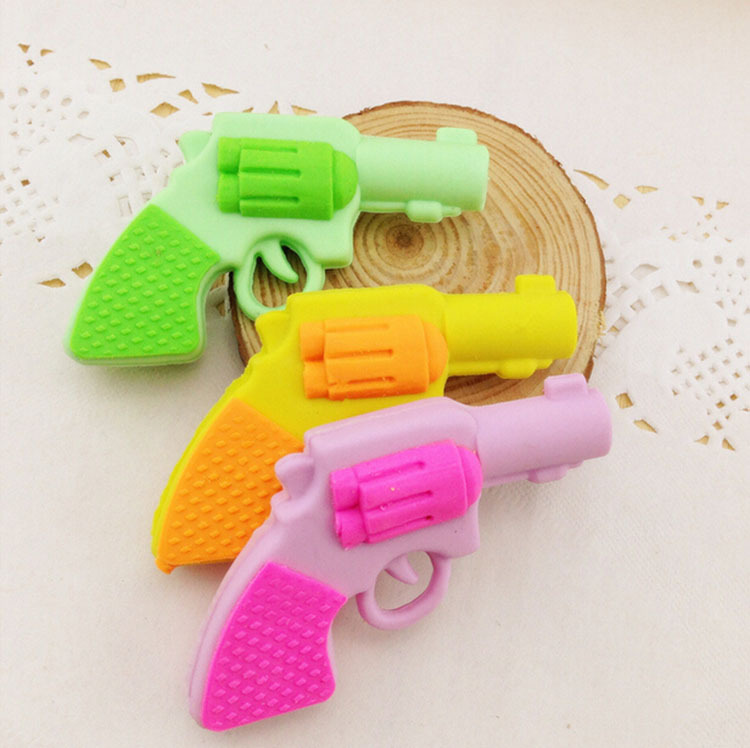 1 Pcs Creative Removable  Lovely Gun Eraser /cartoon Rubber Students Erasers/stationery/children Gift Erasers