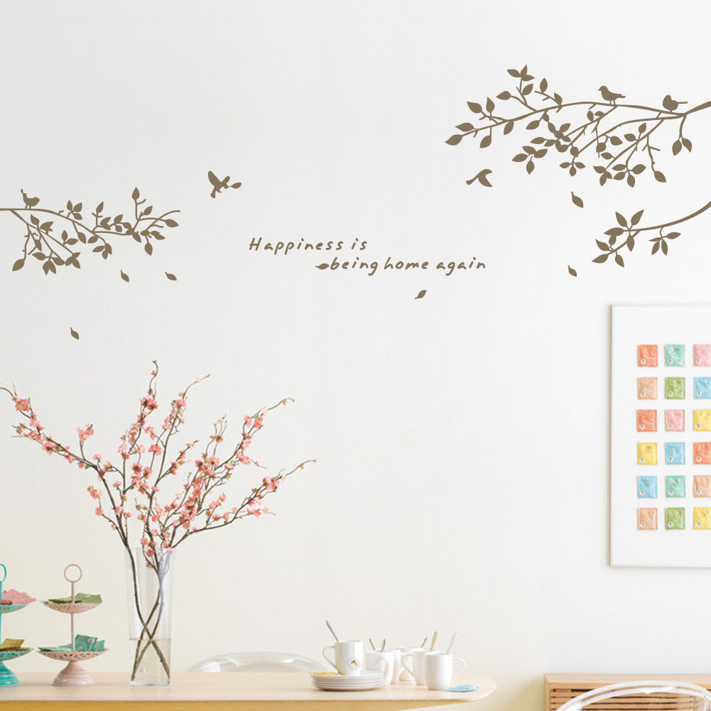 Black Tree Branches Birds Leaves Fashion Vinyl Minimalism Wall