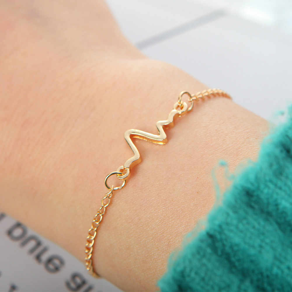 1 PCS Korean Fashion Hot Simple Waves ECG Heart Rate Lightning Chain & Link Bracelets For Women & Men Jewelry Summer Style Beach