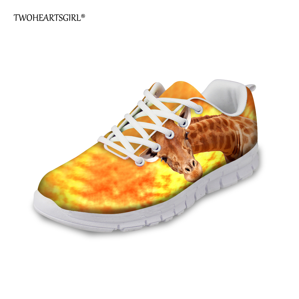 Twoheartsgirl Fashion Women Sneakers Cute Giraffe Female Casual Flats Breathable Comfortable Spring Summer Woman Flat Shoes instantarts cute glasses cat kitty print women flats shoes fashion comfortable mesh shoes casual spring sneakers for teens girls