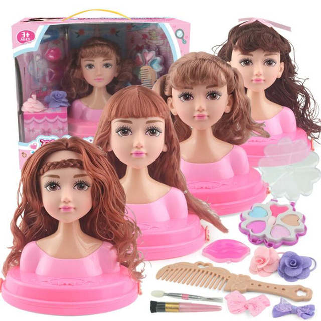 Excellent Half Body Girls Makeup Hairstyle Training Doll Cosmetics Head Kid Natural Hairstyles Runnerswayorg