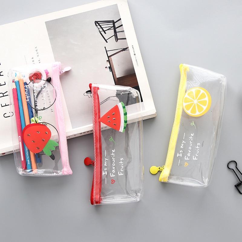 1 Pcs Kawaii Pencil Case Fruit Transparent PVC Estuches School Pencil Box Pencilcase Pencil Bag School Supplies Stationery