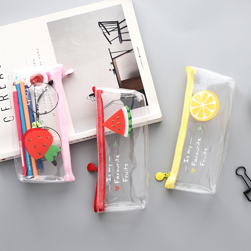 1 Pcs Kawaii Pencil Case Fruit Transparent PVC Estuches School Pencil Box Pencilcase Pencil Bag School Supplies Stationery fruit print pencil case