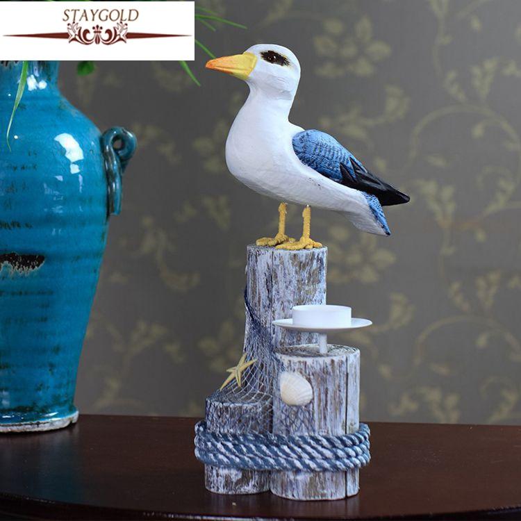 ᗛDecoración Marina madera pájaro estilo mediterráneo muebles para ...