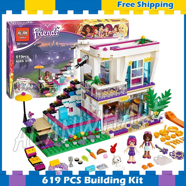 619pcs Friends Livi's Pop Super Star House Mixed 10498 Model Building Brick Blocks Children Sets Kids Toys Compatible With lego 2017 hot sale girls city dream house building brick blocks sets gift toys for children compatible with lepine friends
