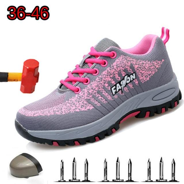 Botas de trabalho femininas com bico de aço, botas de trabalho para mulheres, malha respirável, leve, antiderrapante, sapatos de segurança tamanho 40