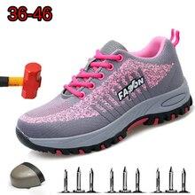 Çelik ayak iş kadın iş çizmeleri örgü kadınlar hafif nefes Anti smashing kaymaz koruyucu güvenlik ayakkabıları boyutu 40