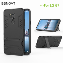 BSNOVT For LG G7 Cover Soft Silicone + Plastic Kickstand Case G 7 2018 G710 Phone Bumper Shell 6.1