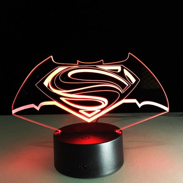 Упаковка из 40 шт. Бэтмен Супермен Улитка рамка Сенсорный экран 3D иллюзия Светодиодная вспышка света игрушка в подарок в коробке через DHL.