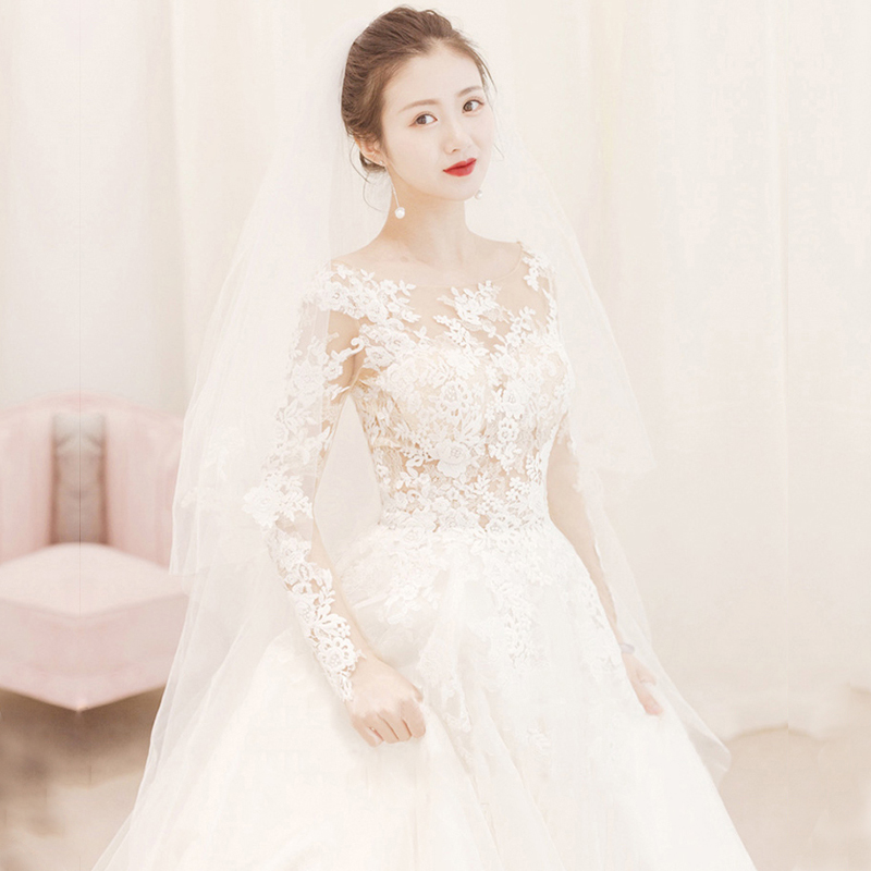 Long sleeve lace wedding dress 2019 luxury A-Line wedding gowns plus size real photo princess weddingdress vestido de novias