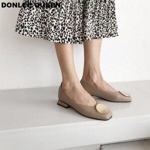 Image 4 - DONLEE QUEEN ผู้หญิงแฟลตรองเท้าไม้ LOW Heel Ballet สแควร์ตื้นหัวเข็มขัดยี่ห้อรองเท้า SLIP บน Loafers zapatos de mujer