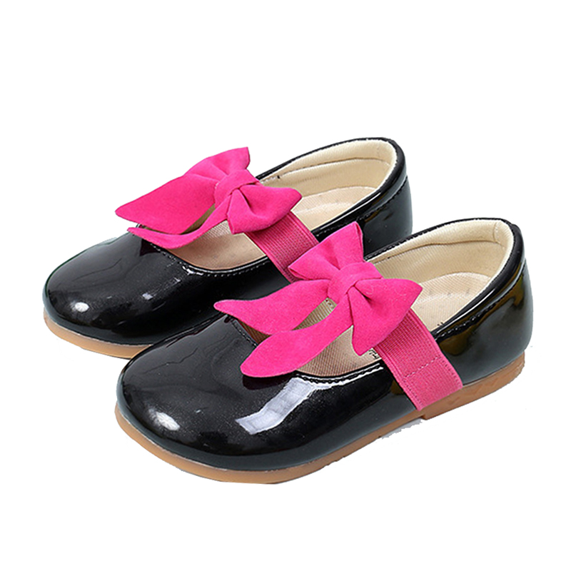 Girls Children White Pink Bowknot Wedding Dress Princess Shoes For Kids Girls Newest Spring 2018 Slip On Patent Leather Shoes 35