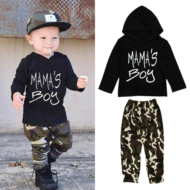 ec20e36dcc214 2018 New Style Baby Boy Clothes Long Sleeve Black Hooded Top+Camouflage  Pants 2Pcs Infant Newborn Baby Clothing Suit Kids Set