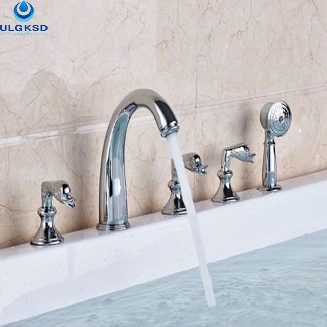 Bon Ulgksd Chrome 5 Pcs Bathroom Tub Faucet Bathtub Faucet And Shower Faucet  With Handheld Sprayer Deck