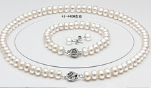 Genuine freshwater pearl necklace bracelet 925 silver earrings 3 sets bridal jewelry set gifts for women