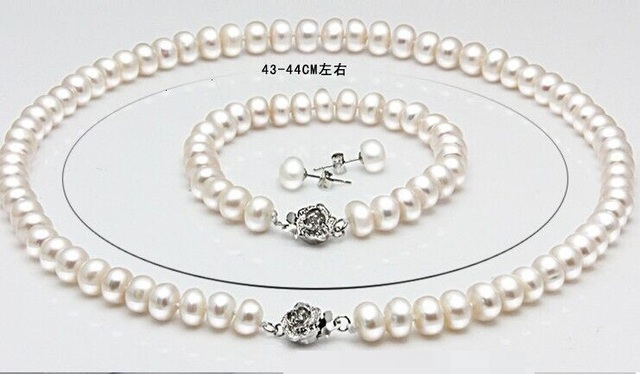 Genuino de agua dulce collar de perlas pulsera pendientes 925 pendientes de plata 3 sets joyería nupcial conjunto envío gratis regalos para las mujeres