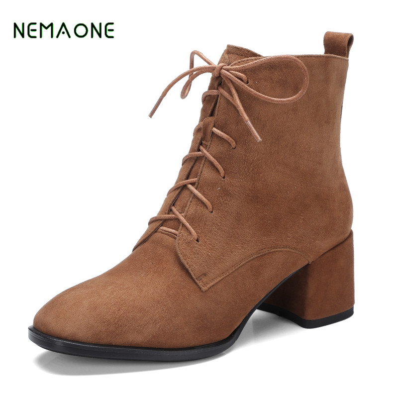 NEMAONE British Style Lace Up Ankle Boots High Quality Genuine Leather Women's Winter Boots Autumn Square High Heels Shoes Woman top new men boots fashion casual high shoes cowboy style high quality lace up classic leather ankle brand design season winter
