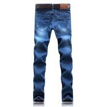 B&H Men's Jeans Classic Direct Stretch Dark Blue Business Casual Denim Pants Slim Scratched Long Trousers Gentleman Cowboys