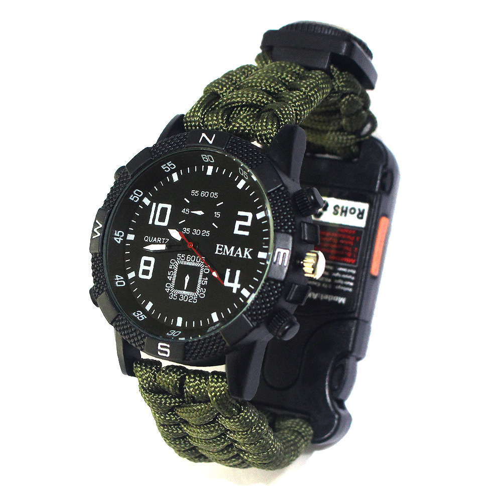 Outdoor Camping Survival Watch Tools Kit Rechargeable 2km Infrared SOS LED Light Flashlight Paracord Compass Whistle Reflector