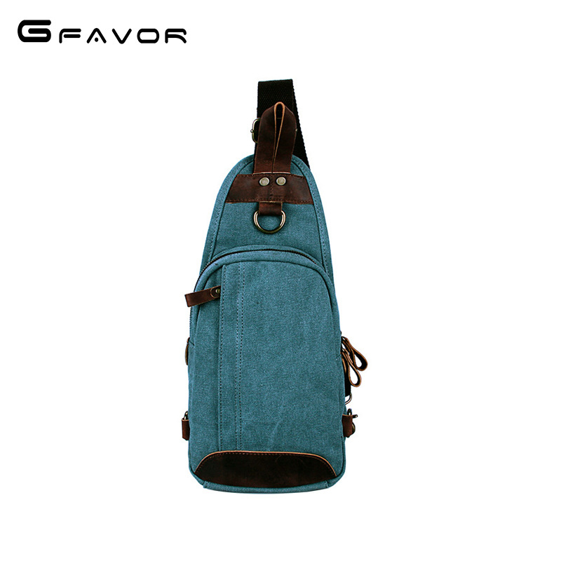 Фотография G-FAVOR Vintage Waterproof Oil Wax Canvas Shoulder Chest bag Multifunction Crossbody Bag travel Messenger Bag Women Shopping Bag