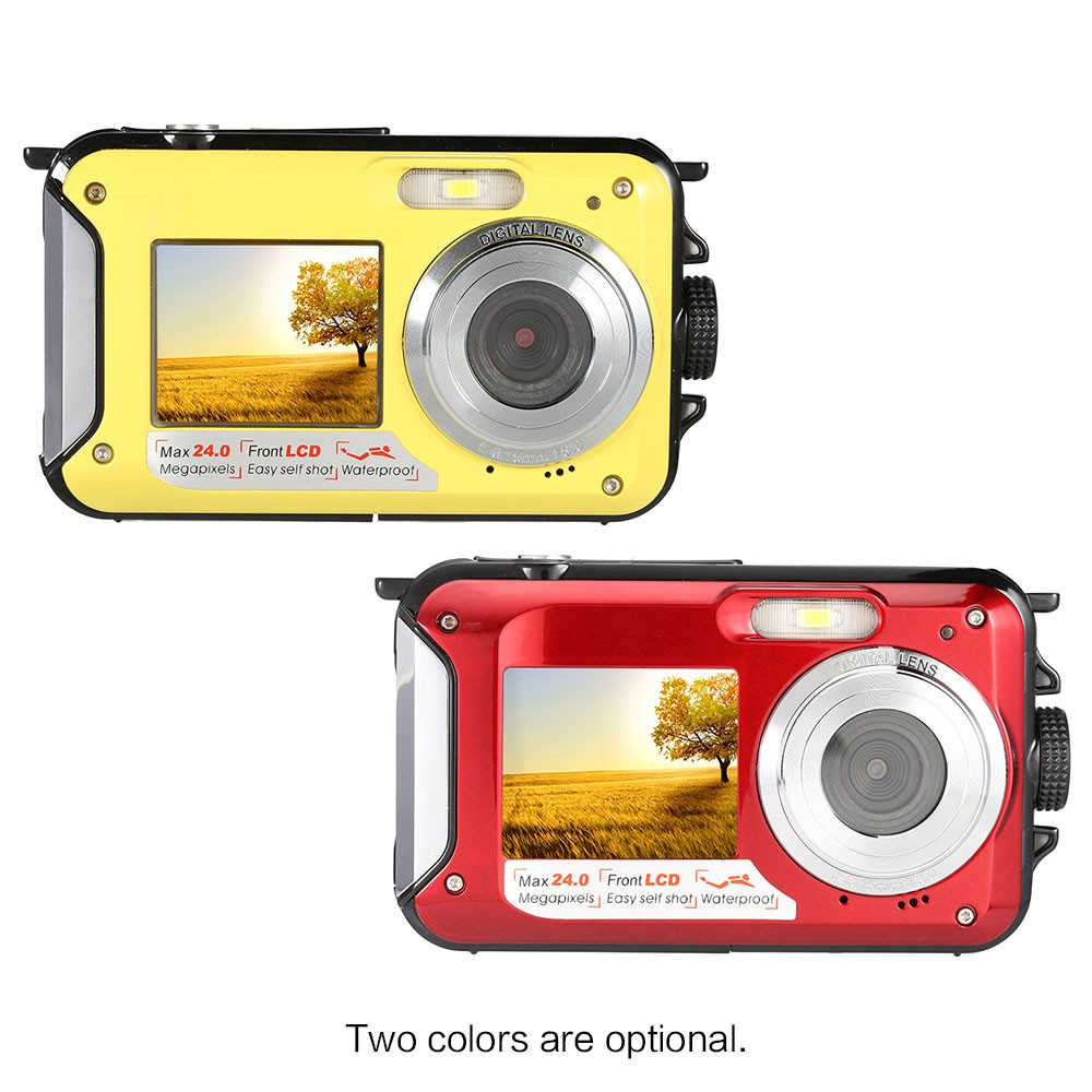 Appareil photo numérique étanche Winait 24mp avec double affichage et caméra vidéo compacte numérique rechargeable au lithium