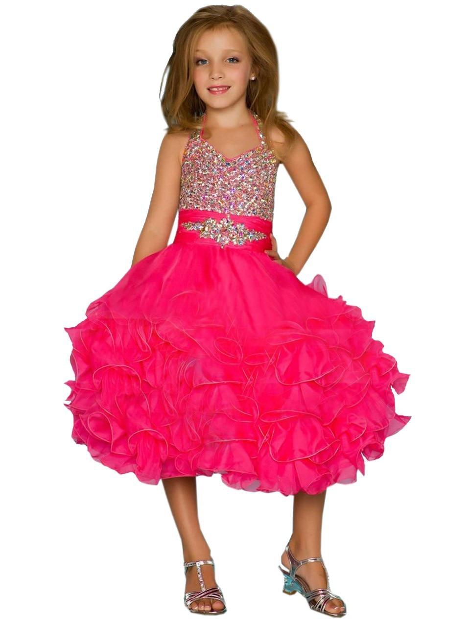 все цены на 2017 Fashion Mother Daughter Dresses Knee-Length Flower Girls Dresses For Wedding Gowns A-Line First Communion Dresses for Girls онлайн