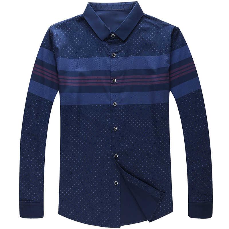 2019 社会長袖ストライプデザイナーシャツメンズスリムフィットヴィンテージファッションの男性のシャツの男ドレスジャージカジュアル服 36780