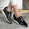 AIWEIYi Обувь Из Натуральной Кожи Женщина Черный Красный Острым Носом Oxfords Обувь узелок Платформа Повседневная Обувь Из Натуральной Кожи Мокасины