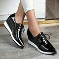 AIWEIYi Genuine Leather Shoes Woman Black Red Pointed toe Oxfords Shoes Lace up Platform Casual Shoes Genuine Leather Loafers