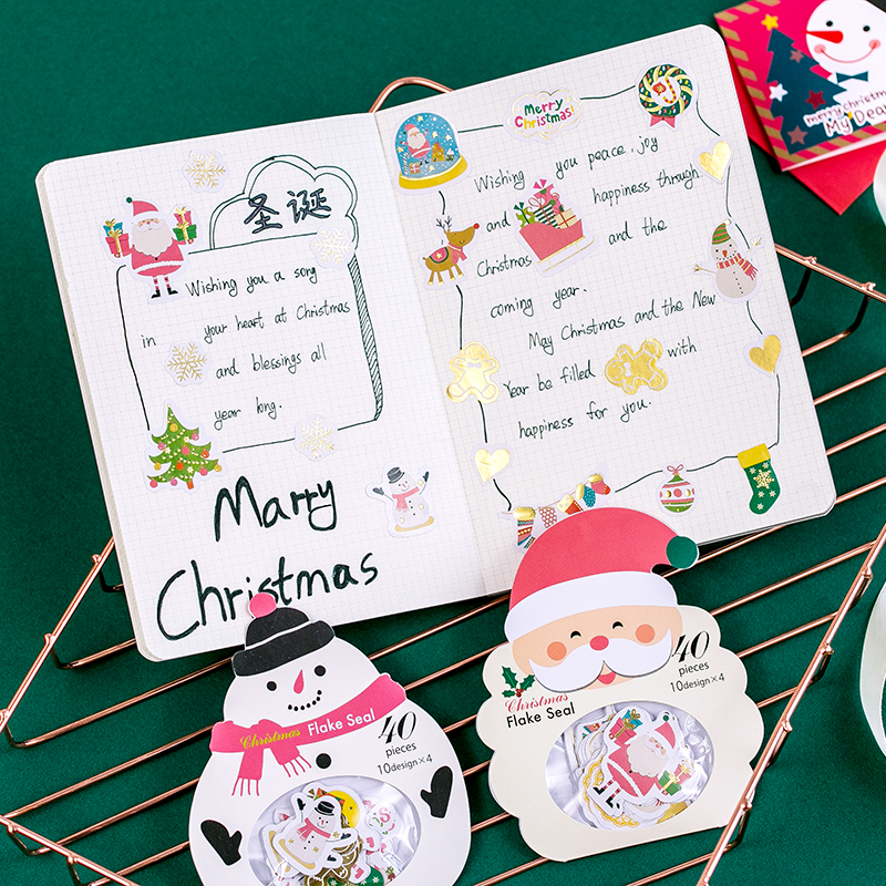 40pcs Diy Paper Kawaii Stickers Merry Christmas Travel Diary Planner Decorative Stickers Scrapbooking Craft Stationery Stickers merry christmas snowman pattern decorative stair stickers