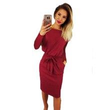 цены Solid Casual Lace Up O-neck Long Sleeve Slim Mini Autumn Dress Women 2018 Plus Size Dresses XXXL Vestidos