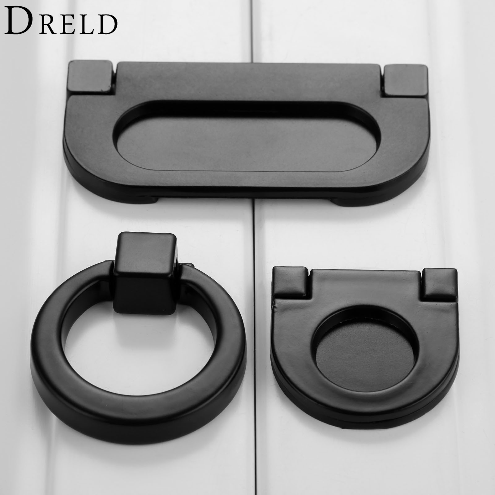DRELD Black Hidden Furniture Handles Zinc Alloy Cabinet Invisible Handle Drawer Wardrobe Door Knobs For Furniture Hardware