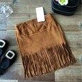 Дети юбки девушки кисточкой юбки мода цвета хаки пакет бедра юбка 2 - 7 лет малыша одежда для девочек