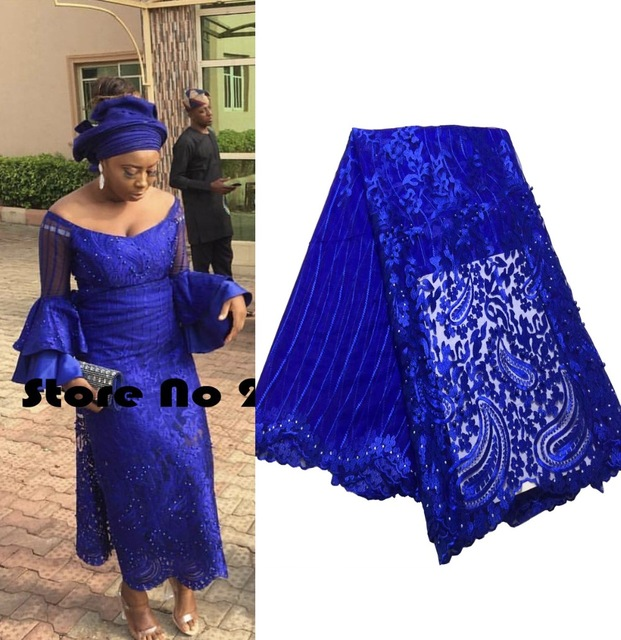2019 Latest Nigerian Laces Fabrics High Quality African Laces Fabric For Wedding Dress French Tulle Lace With Beads ZA168