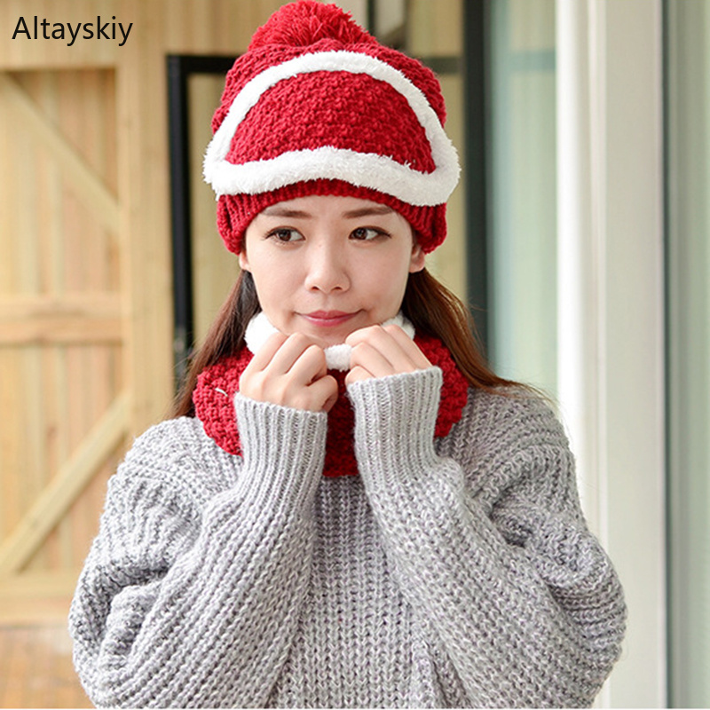 Scarf Sets Women Hat Bib Mask 3 Pieces Sets Cycling  Furry Pompom Crochet Knitting Womens Korean Style Sweet Warm Thicker Fit