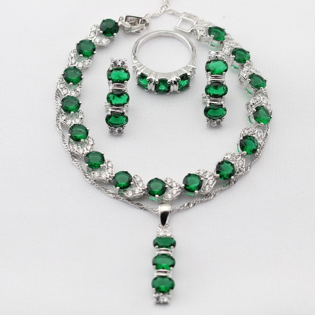 Charms Green Imitated Emerald Silver Plated Women Jewelry Sets Necklace Pendant Drop Earrings Rings Bracelet Christmas Gift